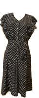 Women's Black Flutter Short Sleeve Dress With White Polka Dots NWOT Sz LG NWOT