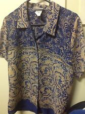 Woman's Blue And Taupe Katies Size 12 Short Sleeve Blouse