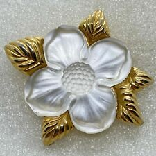 Signed MONET Vintage FROSTED GLASS Flower BROOCH Pin Gold Tone Costume jewelry