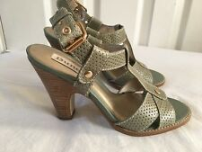Dune Ladies New High Heels Pale Green Leather Sandals Summer Shoes Size 36/3