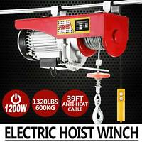 1320lbs Mini Electric Wire Hoist Remote Control Garage Auto Shop Overhead Lift