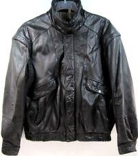 Phase 2 Men VTG Bike Leather Jacket Size L Black Metal Zipper Metal Buttons
