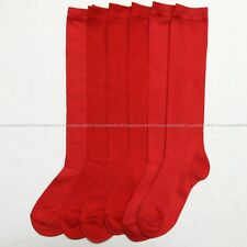 12 Pairs Knee High Uniform School Socks Womens Girl's White Black Size 9-11 Lot