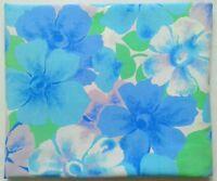 Vintage Wabasso Floral Bedsheet FULL FLAT Flower Power Blue Green Lilac