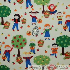 BonEful Fabric Cotton Quilt White Red Green Kid APPLE Tree Boy Girl Toile SCRAP