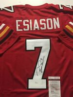 Autographed/Signed BOOMER ESIASON Maryland Terrapins Red Football Jersey JSA COA