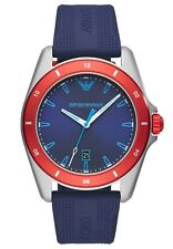 Emporio Armani Sigma Men's Blue Silicone Strap and Dial 44mm Watch AR11217 NEW!