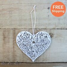 Small Floral Metal Heart White Decorative Hanging Home Love Ditsy Shabby Chic