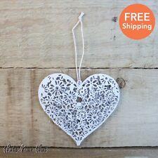 Piccolo cuore floreale in metallo bianco decorativo da appendere Home Love NAIF shabby chic