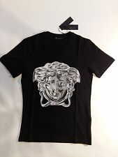 Versace Black T-Shirt Silver Sign Print Men's Size L Made in Italy