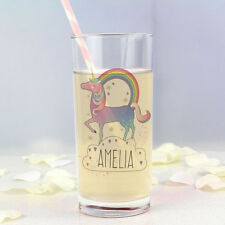 Personalised Unicorn Hi Ball Glass - Add Girls Name Birthday, Christmas Gift