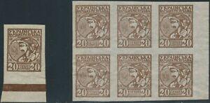 UKRAINE 1918 20 Sch. dunkelbraun (Ukrainischer Bauer) postfr. Randstück +ABARTEN