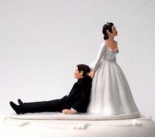 """Now I Have You"" Bride Dragging Groom Humorous Funny Wedding Cake Topper RRP 28£"