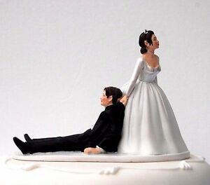 """""""Now I Have You"""" Bride Dragging Groom Humorous Funny Wedding Cake Topper RRP 28£"""