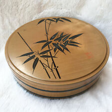 Japanese Bento Boxes Brown Lacquerware Vintage Wooden Black Bamboo Pattern Makie