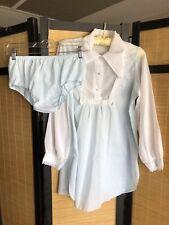 Vintage Flair Lingerie Blue White Cotton Blend Panty Bed Top Set Bust 38