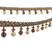 1M Curtain Lace Hanging Ball Ribbon Edge Fringe Crystal Beads Trim Home Decor
