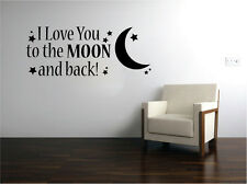 I Love You to the MOON and Back Vinyl Sticker Decal for Room Wall Decor Black
