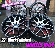 "22"" ALUWERKS DTM BLACK POLISHED ALLOY WHEELS FOR MERCEDES ML + AUDI Q7 2010+"