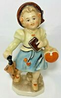 Friedel Valentine Heart Girl with Umbrella Figurine Germany Hand Painted Crazing