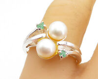 925 Sterling Silver - Freshwater Pearls & Peridot Bypass Band Ring Sz 8 - RG5431