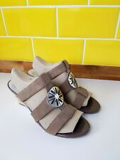 BNWOT Brown Van Dal Suede Leather Strappy Wedge Heel Sandals Mules UK 8 Summer