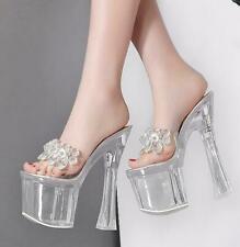 Women Rhinestones Transparent Crystal platform Slippers High Heels Mules Sandals