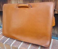 Vtg MURNAK ltd. Briefcase-New York-Quality Leather-Tan-Zipper-Extendable Handles