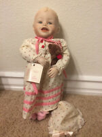 "YOLANDER BELLO ""SARAH""1987 PORCELAIN BABY DOLL BY EDWIN M. KNOWLES CHINA CO."