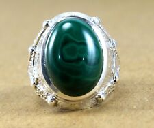 Malachite Gemstone Solid 925 Sterling Silver Partywear Mens Ring Jewelry