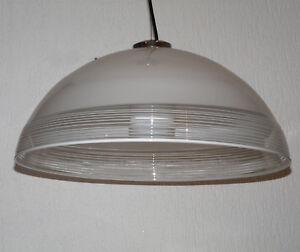 Gebr. Cosack schwere Hängelampe Lamellen Lampe Pendellampe Glas 60er Ø 55 cm
