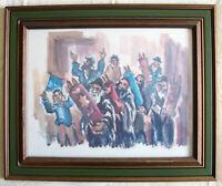 "DAVID GILBOA (1910-1976) ""Simhath Tora in Jerusalem"" Watercolor framed print"