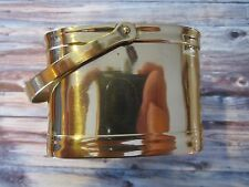 VINTAGE SMALL SQUARE BRASS BASKET BOX CONTAINER WITH HANDLE INDIA