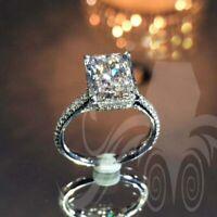 Certified 2.90 TCW Radiant Cut Diamond Wedding Engagement Ring 14K White Gold FN