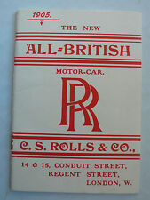 Prospekt Rolls-Royce - The new All-British Motor Car, 1905, 24 Seiten, Reprint