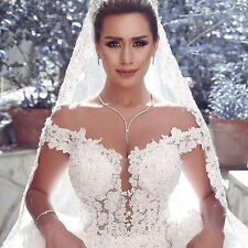 White Ball Gown Organza Wedding Dresses Lace Embroidery Chapel Train Custom Made