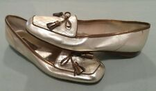 Women's ENZO ANGIOLINI Gold/Bronze Leather Flats -- Bow Trim US Size 8M