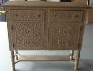 Beautiful Solid Wood Buffet Credenza – Antiqued Finish – GORGEOUS CARVED DESIGN
