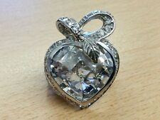 STUNNING SILVER LOVE HEART STATEMENT RING SIZE N