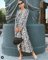 NWT RIXO LONDON Betty Midi Wrap Dress – Mono Tiger Sz XS-XL