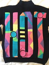Vintage 80s Rare HOT Ski Geometric Sweater Ugly Neon Bright New Wave L Black