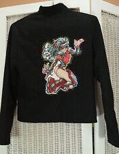 """NAF NAF Women's Jacket M 36"""" Bust Rollerblade Manga Roller Derby Applique Black"""