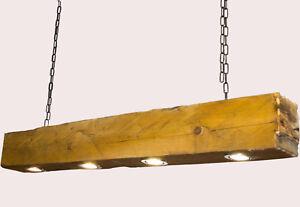 Deckenlampe Holz Hängelampe Altholz  anno 1790 massiver Balken  Led  Lampe