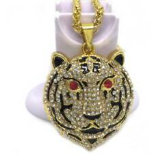 Fashion Hip-hop Jewelry Full Rhinestone Tiger Pendant Punk Party Necklace Gift