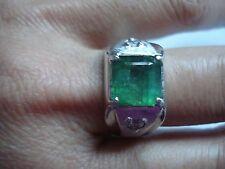 Vtg Men's Gift~Huge 14k Gold Diamond Apple Green Tourmaline Ring~Sz10~Free Ship
