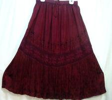 Skirt Renaissance Fair RenFair Old West Pioneer Boho PIrate Burgundy one size