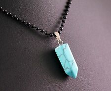 Turquoise Gem Mini Bullet Pendant w/Black Necklace w/Free Jewelry Box and Ship
