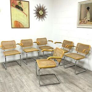 Set of 6 Vintage Mid Century Marcel Breuer Italian Made Cesca Chairs by Habitat