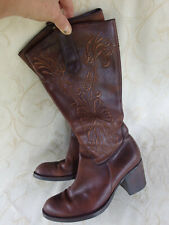 Nine West Brown Leather Box Heel Embroidered Cowboy Boots Womens Size 7.5M