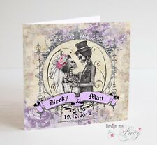 PERSONALISED SKULL Wedding Card - Vintage Day Of The Dead - Rock N Roll